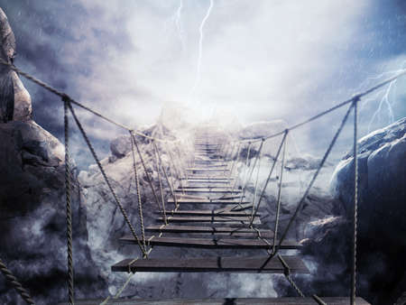 arduous: 3D Rendering of bridge collapsing during a thunderstorm