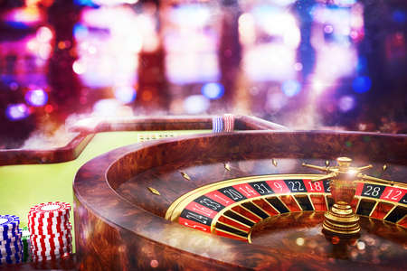 gambling counter: 3D Rendering of roulette in a casino Stock Photo