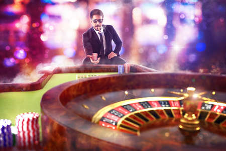 sweepstake: 3D Rendering of man gambler playing roulette Stock Photo