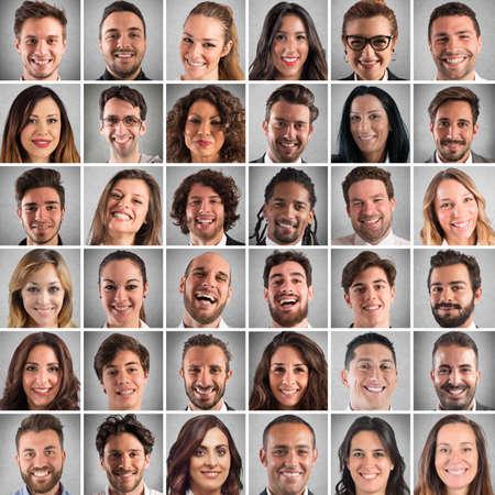 PERSONAS: Collage de las caras sonrientes de los hombres y las mujeres Foto de archivo