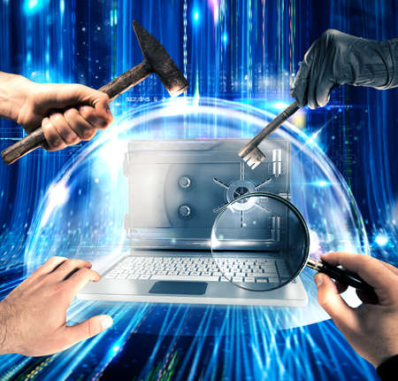 Computer with screen as a safe inside a bubble 3d rendering Stock Photo
