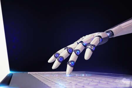 로봇의 3D 렌더링 손가락이 노트북 키보드를 건 드리면.