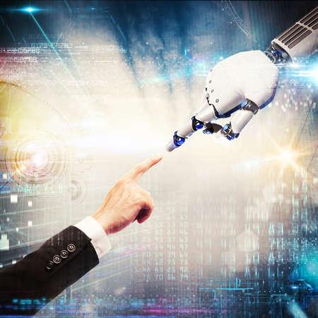 dedo de la representación 3D del hombre toca el dedo de un robot Foto de archivo