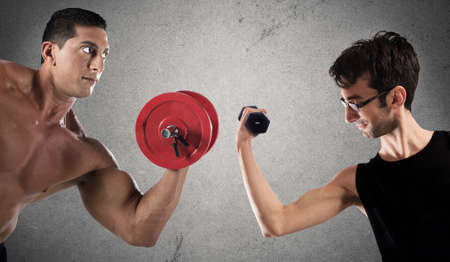 tricep: Boys are confronted by lifting a dumbbell weights