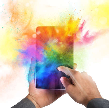 Cellphone with burst of bright colorful powders