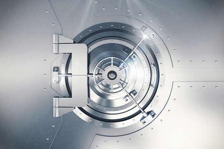 safekeeping: 3D Rendering of steel safe door locked Stock Photo