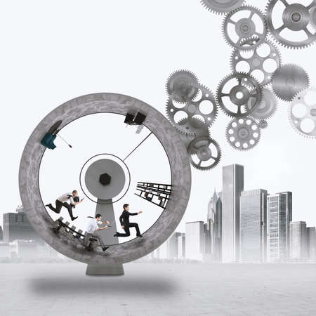 acceleration: 3D Rendering people run inside a wheel with gears