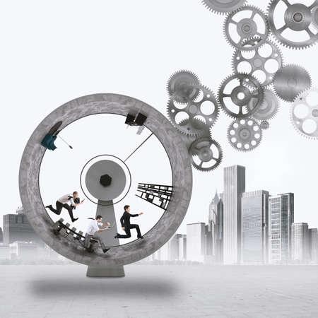 ploy: 3D Rendering people run inside a wheel with gears