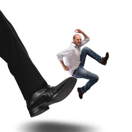 discredit: Man hit by kick of big foot