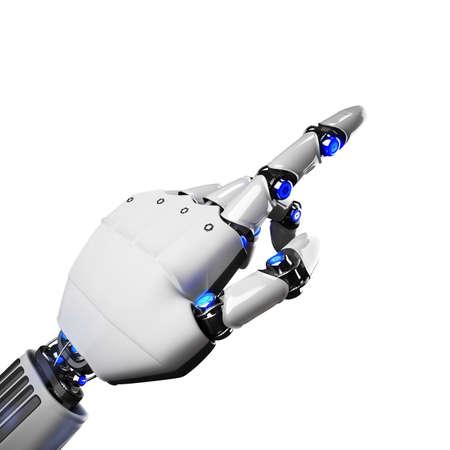 tecnología informatica: Representación 3D de la mano de un robot futurista que indica Foto de archivo