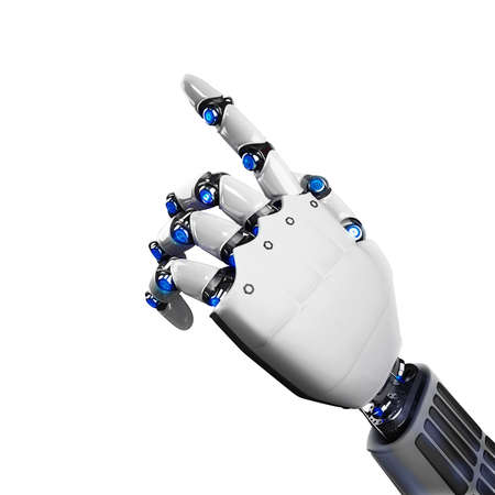 technically: 3D Rendering of futuristic robot hand indicating