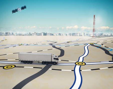衛星によってトレースのパスが付いている道の 3 D レンダリング トラック 写真素材