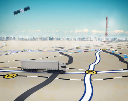 3D Rendering trucks on the road with path traced by satellite