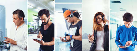 Collage of men and women who use electronic devices