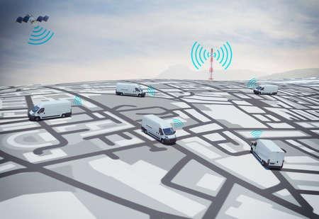 3D-rendering vrachtwagens op de weg met pad opgespoord door satelliet