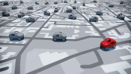3D rendering macchinine su un percorso di strade mappa