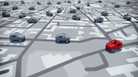 3D Rendering toy cars on a path of streets map Standard-Bild