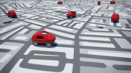 itinerary: 3D Rendering toy cars on a path of streets map Stock Photo