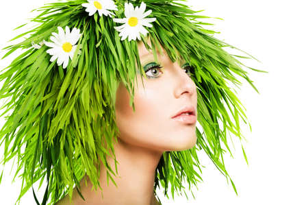 Girl with grass hair and green makeup Banco de Imagens - 60366921