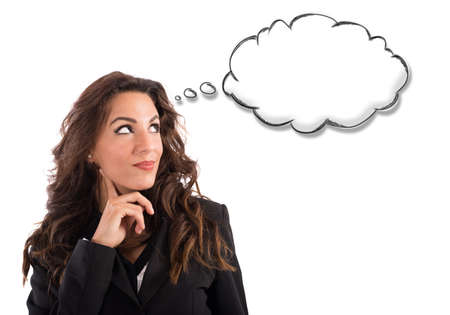 thoughts: Woman thinks with little cloud of thought Stock Photo