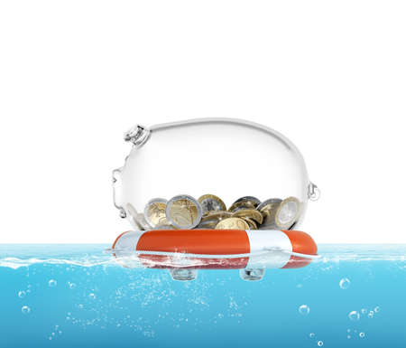 Lifebelt with piggy bank in the sea 3d rendering
