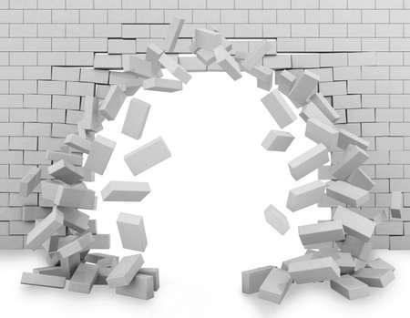Background of a brick wall broken through 3d rendering Stock Photo