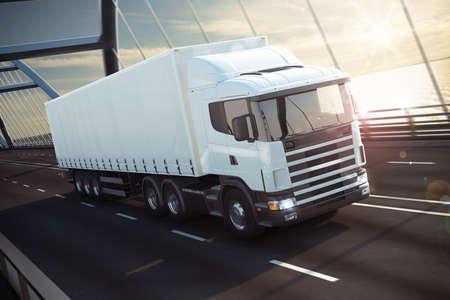 camion: 3D Rendering camioneta blanca en un puente sobre el mar Foto de archivo
