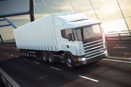 road: 3D Rendering white truck on a sea bridge