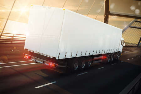 3D Rendering white truck on a sea bridge