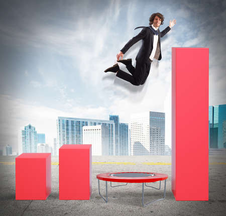 Businessman that Jumps high to better statistics