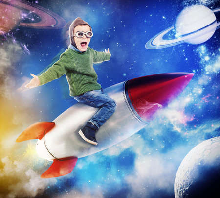 daydreamer: 3D Rendering of happy child sitting on a missile Stock Photo