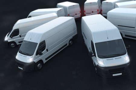 3 D レンダリング白いトラックが隣同士に駐車
