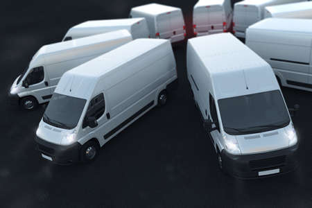 3D Rendering white trucks parked next to each other
