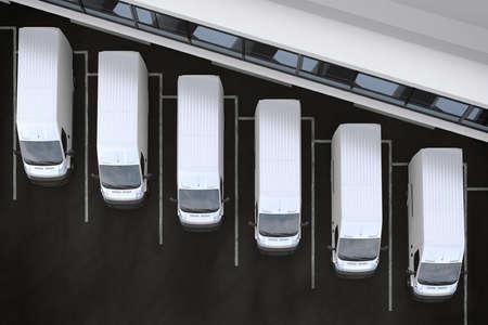 3 D レンダリング トラックが倉庫前に駐車