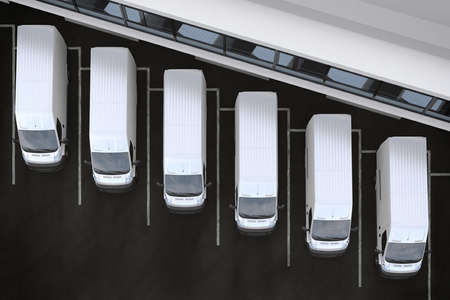 3D-Rendering-LKW vor einem Lagerhaus geparkt