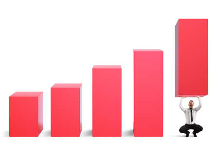 Business strongman with effort lifts company statistics Stock Photo