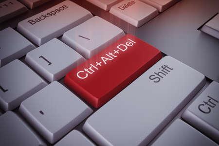 컴퓨터 키보드 다시 시작 빨간색 키 3D 렌더링