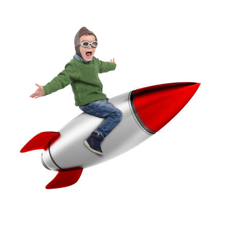 3D Rendering of happy child sitting on a missile Stock Photo