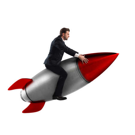 3D Rendering of man sitting on a missile Stock Photo