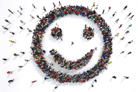 smiley: 3D Rendering smiley face formed by groups of people Stock Photo