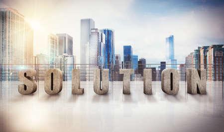 Written solution on a terrace of skyscraper 3D Rendering
