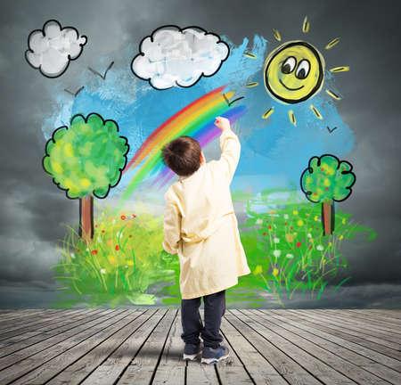 Kind kleur een zonnig landschap op een grijze muur met cloud Stockfoto
