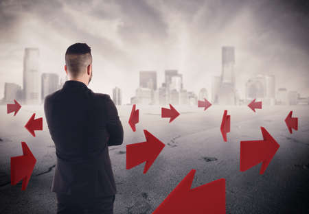 indecisive: 3D Rendering of a man with arrows on asphalt with a cityscape on background