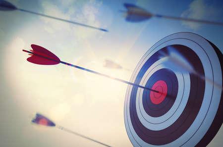3D Rendering flecha golpear el centro de la diana
