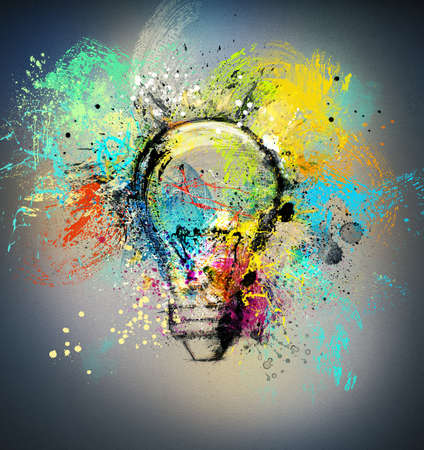 power of thinking: Concept of a new creative idea with drawn and colored bulb with bright colors