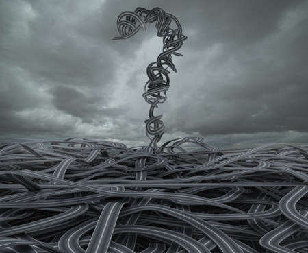 Rendu 3D écheveau de routes à grand point d'interrogation Banque d'images
