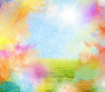 Colored powder with lawn and sunlight landscape Stock Photo