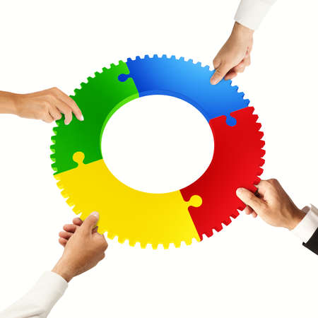 problem: Business people join the colorful puzzle pieces