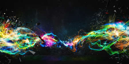 Modern abstract colourful light motion banner on dark background 写真素材