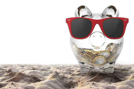 Piggybank with red sunglasses on the beach. 3D rendering